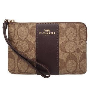 Authentic COACH Wristlet Wallet Signature Brown